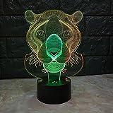 Nachtlicht 3D LED Lampe Nachtlicht - 7 Farben USB betrieben Tisch dimmbar Nachtlicht Touch-Schalter für Kinder, 3D-Leuchten Optische Täuschungen Schreibtischlampe für Zimmer Dekor (Tiger)