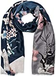 styleBREAKER Damen Schal mit Blumen, Vögel Ornament Muster und Fransen, Stola, Tuch 01017086, Farbe:Dunkelblau-Grau