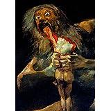demonología, Witchcraft, con ojetes & Magick Saturno devorando a su hijo, detalle, desde el negro pinturas por Francisco goya c1819–23–250g/m2, A3satinado), diseño tarjeta reproducción de póster