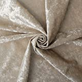 Cream Fire Retardant Luxury Soft Crushed Velvet Glitz Upholstery Cushion Fabric