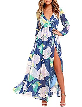 ed0556ac9a016 Vestito Donna Eleganti Vestiti Stampato Floreale Cerimonia Manica Lunga  Casuale Profondo V Spacco Abito Lungo.