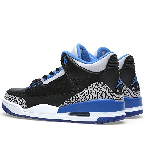 Nike Air Jordan 3 Retro, Chaussures de Sport Homme black/sport blue-wolf grey