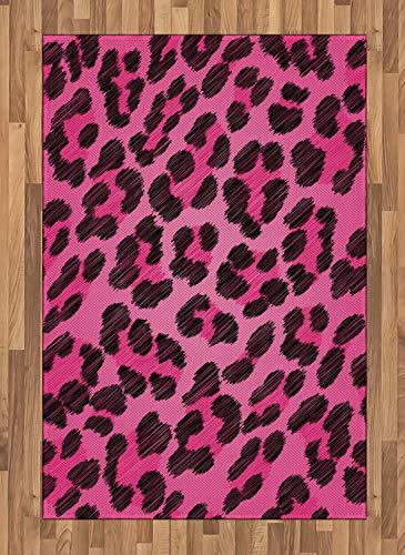 ABAKUHAUS Teen Zimmer Teppich, Lebendige Leopardenhaut, Deko-Teppich Digitaldruck, Färben mit langfristigen Halt, 120 x 180 cm, Magenta und Schwarz (Zimmer Teppiche Für Teens)