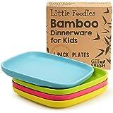 GET FRESH Bambus Kinderteller 4 Stück, Bambus Kindergeschirr, umweltfreundliches Kinder Geschirr Set, BPA frei (mehrere Farben), Kinder Bambusteller für eine gesunde...