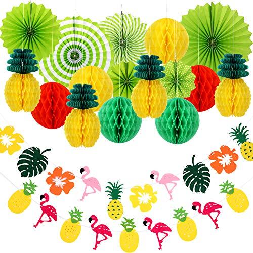 WILLBOND 18 Stücke Sommer Party Dekoration Kit, Enthalten Bienenwabe Ball Papier Ananas Hängen Papier Fächer Ananas Flamingo Banner für Hawaiian Sommer Luau Geburtstag Hochzeitsfeier - Ball Dekoration