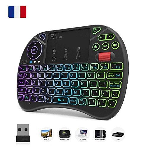 (Neue Version 2018) Rii i8x AZERTY 2.4 GHz Mini Wireless Keyboard mit Combo Maus Touchpad, LED Hintergrundbeleuchtung ergonomisch, für Smart TV, Mini PC, HTPC, Spielekonsole, Notebooks - Mit Keyboard Hintergrundbeleuchtung Wireless Mini