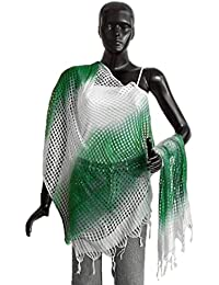 DollsofIndia White With Green Check Synthetic Chunni - 25 X 80 Inches (OG96) - Green, White