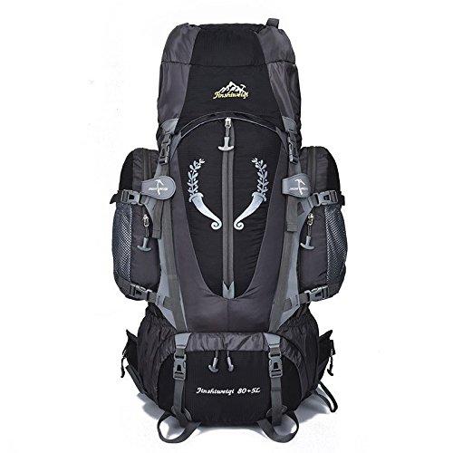 AaaSue – Mochila para montañismo, 85 L, Alta Capacidad, para Senderismo, Escalada, Acampada, Impermeable, con Parte Superior de Montaña, Color Negro