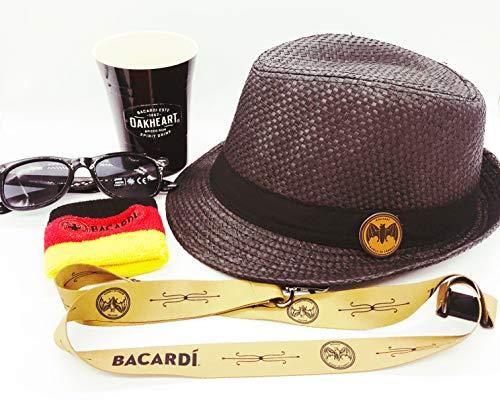 Hut Sonnenbrille (Bacardi Fan Set - Hut + Sonnenbrille mit 400 UV Schutz + Oakheart Becher + Schlüsselband + Kapitänsband in schwarz,rot,Gold)
