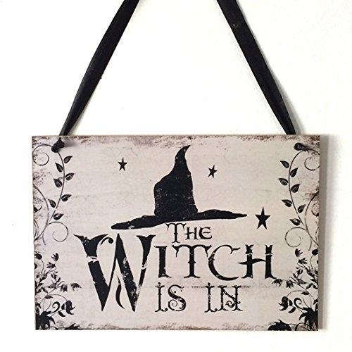 Schild aus Holz zum Aufhängen Halloween Decor Wandbehänge, holz, multi, The Witch Is (Halloween Happy Schild)