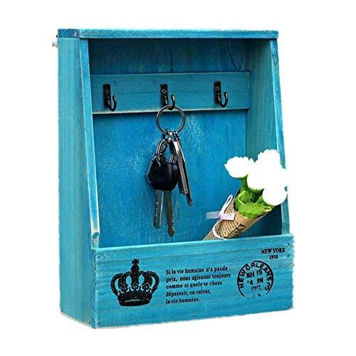 Kangsanli Handgefertigte Holzboxen Cargo Organizer Aufbewahrungsbox einfache kleine Schlüssel hängend Aufbewahrung Halter Handy Organizer Holz Regal Holz Rack blau -