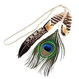 YAZILIND femmes coiffure fantaisie paon plumes perles pendentif cheveux Déguisements