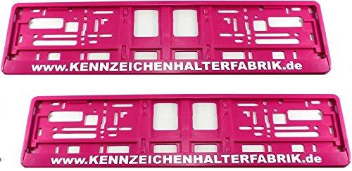Satz (2 Stück) Kennzeichenhalter - PINK - MIT INDIVIDUELLEM WUNSCHTEXT! - VERSANDKOSTENFREI! - PREMIUMQUALITÄT! - Nummernschildhalter...