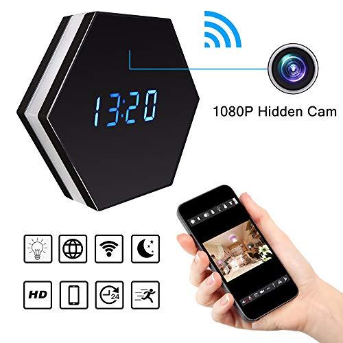 JackeyLove Mini-Kamera HD 1080P Wi-Fi-intelligenter LED-Licht-Uhr-Spiegel mit Nachtsicht Zwei-Wege-Audio-Bewegungserkennung bunt