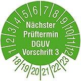 TE-Office 500 Stück Prüfaufkleber Prüfplaketten 18-23 Nächster Prüftermin DGUV Vorschrift 3 grün Rolle 1-bahnig 30 mm Durchmesser laminiert abriebfest
