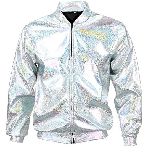 Mixed 70er Jahre 80er Jahre 90er Jahre Qualität Metallic Shiny Rave Bomber Jacke Hologramm Festival Kostüm (Silber groß) (Bomber Jacke Kostüm)