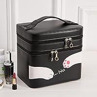 Multifonctionnel mignon portable coréen voyage grande boîte de rangement cosmétique cosmétiques cas portable maquillage boîte grand sac de maquillage noir , black