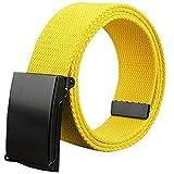 Namgiy cintura donna e uomo in tessuto stretch tessuto elastico intrecciato fibbia ampia cintura per jeans pantaloni corti pin esterno 110* 3.8cm giallo Yellow
