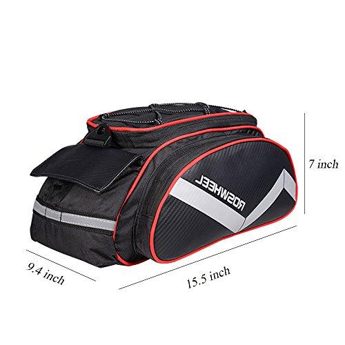 Fahrradtaschen für Gepäckträger, Wasserdicht Schultertasche Radtasche Mit Schließe für Fahrrad-Rücklicht und Wasserflaschenhalter 13L Rot