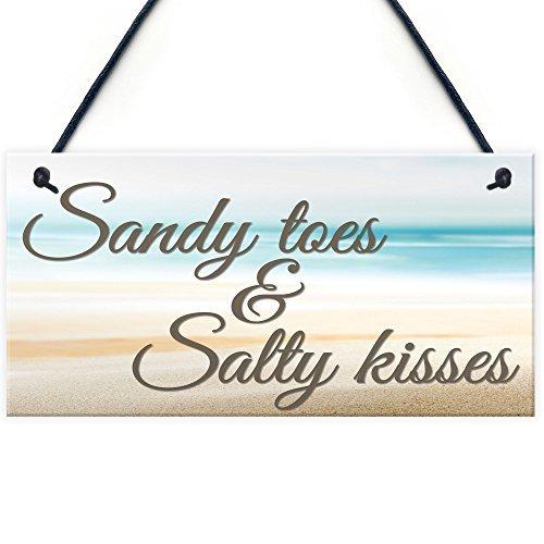 Rustikal Holz Schilder für Home Decor Aufhängen Vorlagen mit Zitate Sandy Toes Salty Kisses Nautisches Thema Badezimmer Schlafzimmer Strand Schild