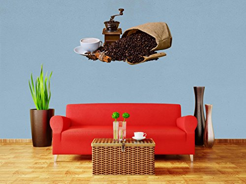 Wandsticker Kaffeebohnen und Kaffeemühle Wandaufkleber S - klein 30x52cm