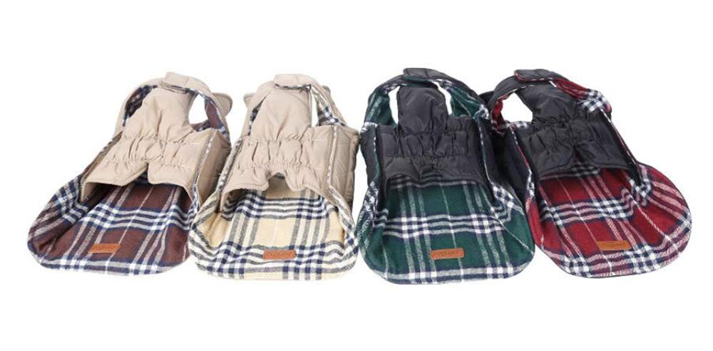Morezi Cozy Waterproof Windproof Reversible British style Plaid Dog Vest Winter Coat Warm Dog Apparel for Cold Weather Dog Jacket for Double sided available 7