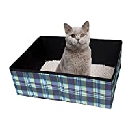 Ardermu Foldable Cat Litter Box - Waterproof Fabric Pet Cat Kitty Litter Box Carrier for Travel Camping Home Use Lightweight and Easy Cleaning