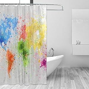 jstel Decor cortina de ducha de mapa del mundo pintura patrón impresión 100% poliéster 66x 72pulgadas para hogar baño decorativo ducha baño cortinas con ganchos de plástico