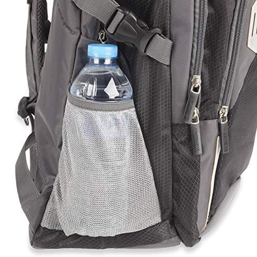 Rucksack für Herren und Damen von Camden Gear. Schulrucksack – Laptoprucksack für die Schule – Laptop – Wandern. Wasserdicht, Top mit mehreren Fächern. Schwarz und Grau - 6