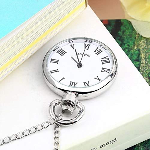 DF-ES Reloj de Bolsillo Redondo de Cuarzo de Moda Dial Collar Vintage Cadena de Plata Colgante Estilo...