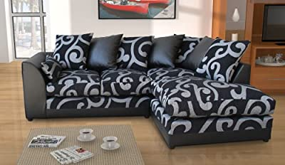 New Dylan Zina Black Swirl Fabric Corner Sofa, Left and Right from Abakus Direct