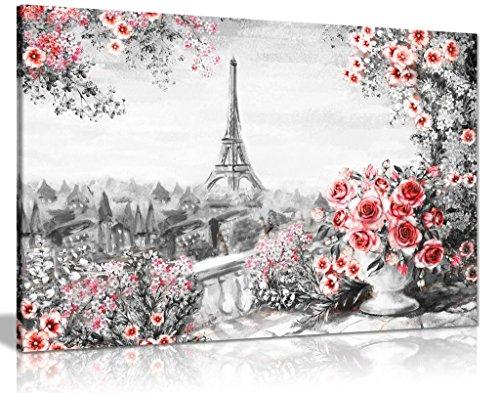 Paris Ölgemälde, Schwarz, Weiß, Rot, Rosen aus Canvas Wall Art Print Bild, schwarz/rot/weiß, A2 61x41 cm (24x16in) - Rote Canvas Art