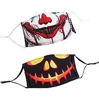 Industries 2 Masques en Tissus Lavables pour Adultes Fantaisie avec motifs Halloween Clown Sanglant et Citrouille…