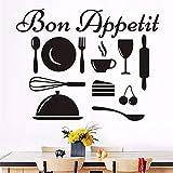 Embellir Les Stickers Muraux Design Moderne Amovible Heureux Cuisine Outils Sticker Mural Bon Appetit Mur Art Citation Décalque De Vinyle Décoration De La Maison Accessoires 74 * 58 Cm