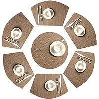 SHACOS Lavables Conjunto de 7 manteles Individuales de PVC Antideslizante Resistente al Calor,para la Mesa de Comedor de Cocina(Marrón bambú)