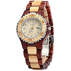 GBlife BEWELL ZS-100BL Wooden Wrist Watch Womens Watch Date Display Retro Style-Red Sandal + Maple