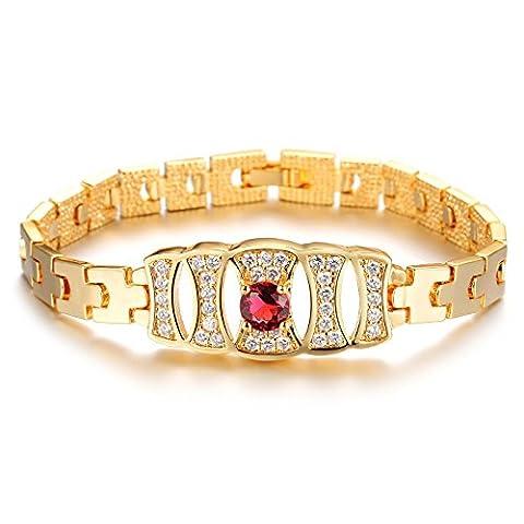 Girl Era rond Rubis, plaqué or 18carats Chaîne Bracelets Meilleur Cadeau pour amoureux