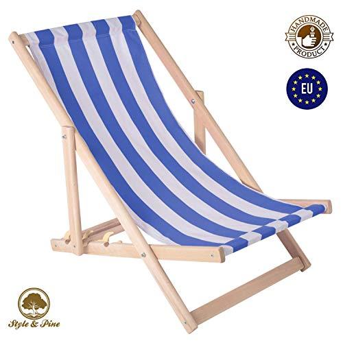 Amazinggirl Liegestuhl klappbar Strandstuhl Holz Klappliegestuhl - holzliegestuhl Relaxliege Gartenliege Strandliege Liege für Garten Balkon weiß - blau