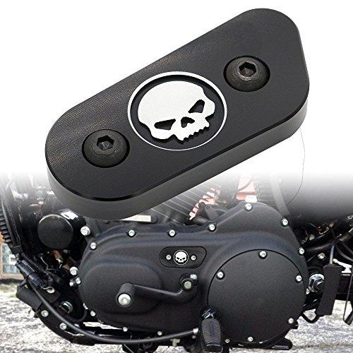 Frenshion Motorrad CNC Kette Inspektion Abdeckung Guard Chrome Skull Schutz für Harley Davidson Sportster XL 883 1200 2014 2015 2016 Schwarz