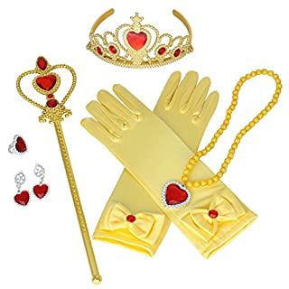 Princess Crown Tiara Butterfly Wand Blue Gloves Cosplay Dress up Accessories Set of 5 (Yellow)