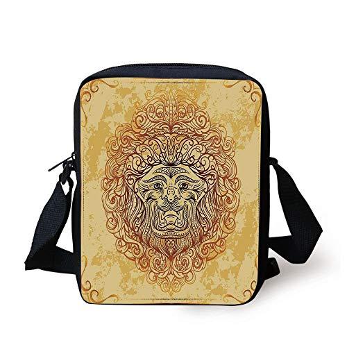 CBBBB Safari Decor,Zodiac Lion with Baroque Motifs on Grunge Aged Background Pride Sign Astrology Theme,Yellow Orange Print Kids Crossbody Messenger Bag Purse - Safari Room Decor