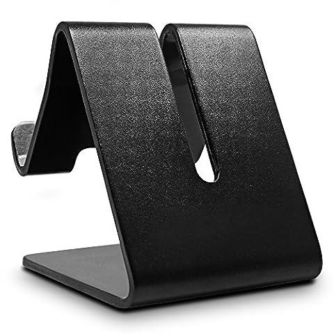 Senhai Desktop-Handy-Ständer aus massivem Aluminium, Universal-Halter-Standplatz für Smartphone Tablet GPS iPhone iPad Samsung Galaxy HTC Blackberry - Schwarz (2-Pack)