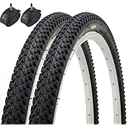Par de Fincci híbrida neumáticos de bicicleta de montaña Cubiertas 26 x 2,125 57-559 y Presta tubos interiores