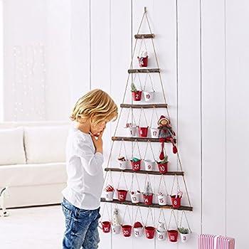 Adventskalender mit kleinen Eimern Metall Holz rot/weiß