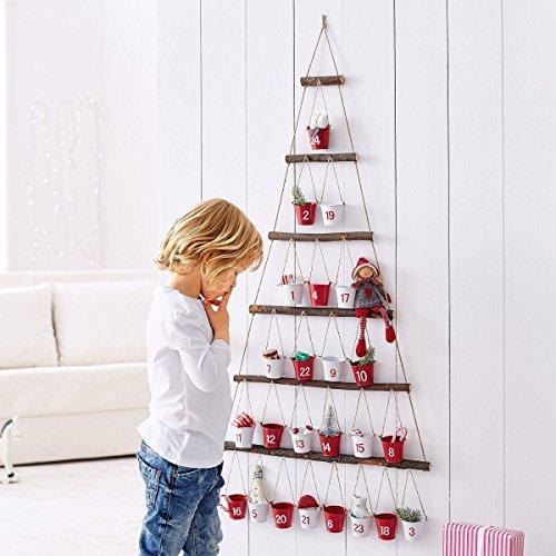 Pureday Adventskalender mit Kleinen Eimern Metall Holz rot/weiß