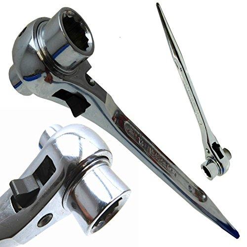 Clé d'échafaudage à cliquet/échafaudage clé mixte en acier/monter Clé 19 mm x 24 mm Nickel Noir