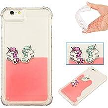 Coque Apple Iphone 6/6S,Iphone 6/6S Case, Roreikes Iphone6/6S Coque Silicone,TPU Goutte liquide Arc-en-cheval Motif Quatre Coins épaissi Manchon Protecteur-(Pink)