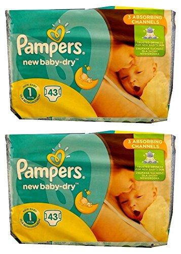 86 (2x43) Pampers Windeln New Baby DRY Gr. 1, 2-5 KG (Gewicht: 2-5KG) NEWBORN