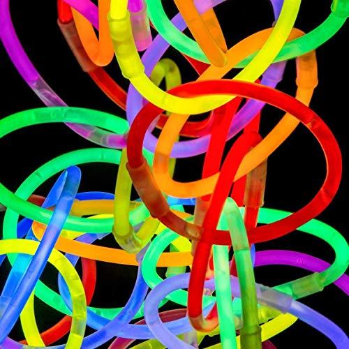 Lot de 18 Bracelets fluorescents Couleurs mélangées - Safe - non toxique - Idéal pour les fêtes, les mariages, les enterrements, les festivals, les enterrements, occasions - Neuf