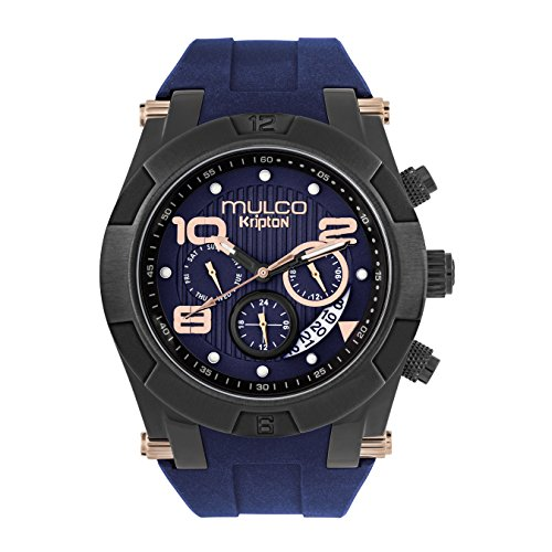 Mulco Kripton Viper Swiss Quartz Watch - Premium Analog Display with Blue Sundial and Blue 100% Silicone Band- Rose Gold Accents- Water Resistant Stainless Steel -Men's Fashion MW5-4828-043